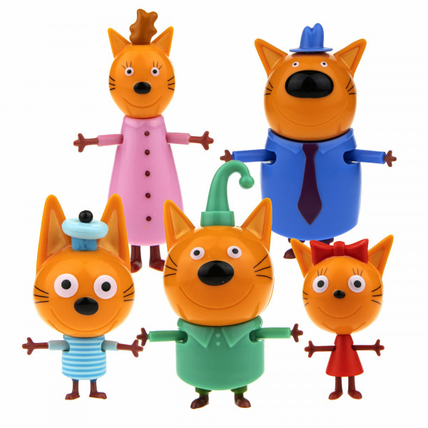 1toy Три кота игр.набор 5 героев Коржик+Карамелька+Компот+Папа+Мама,кор.