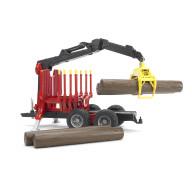 Bruder Прицеп для перевозки леса с манипулятором и брёвнами