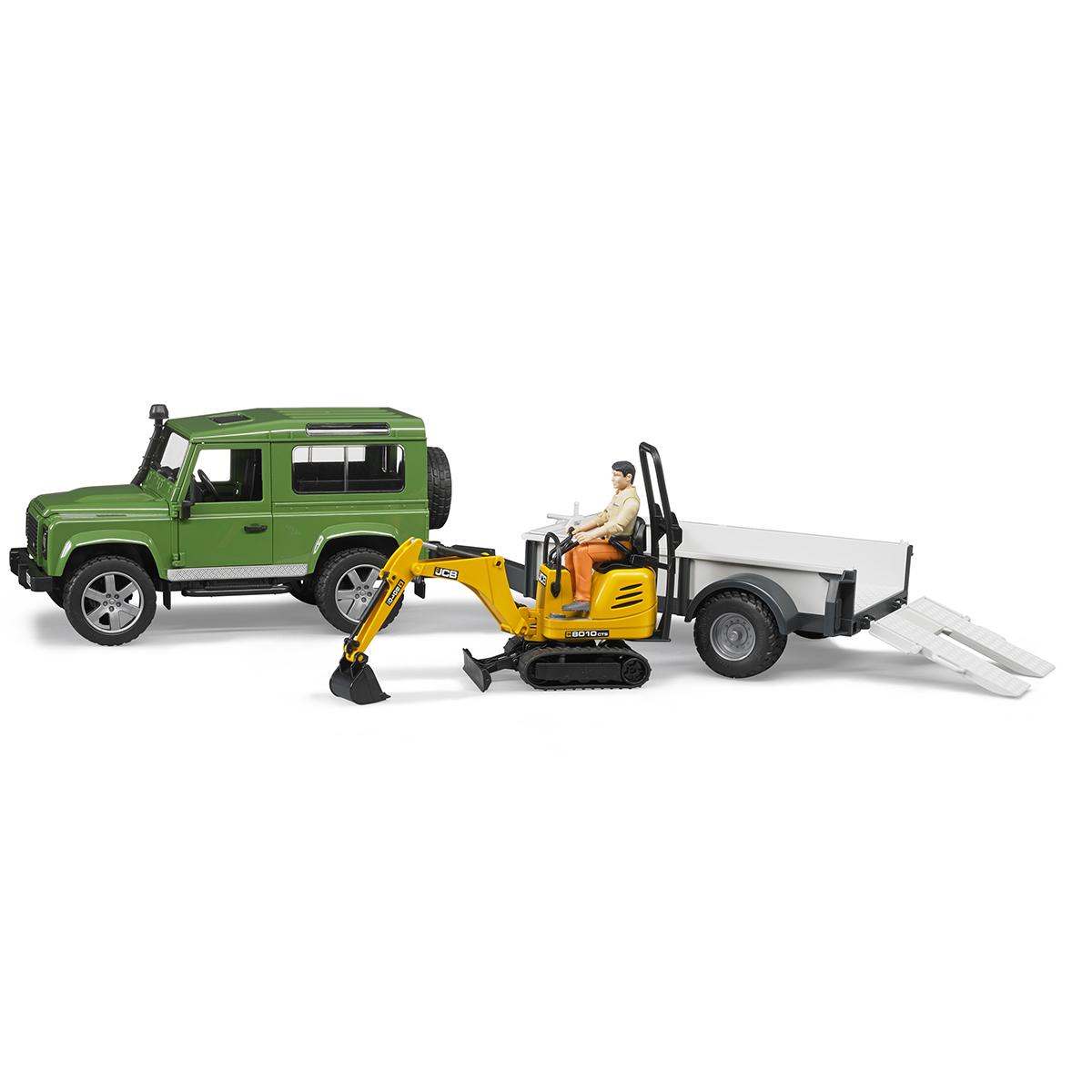 Bruder Внедорожник Land Rover Defender c прицепом-платформой 02-593