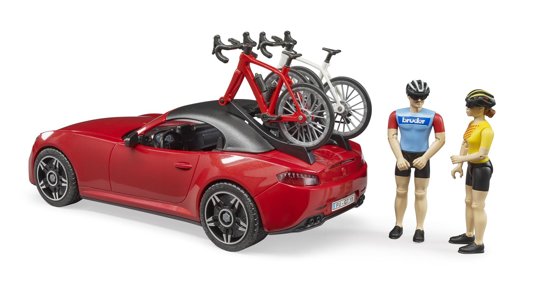Спортивный автомобиль Roadster с фигуркой и велосипедом Bruder 03-485