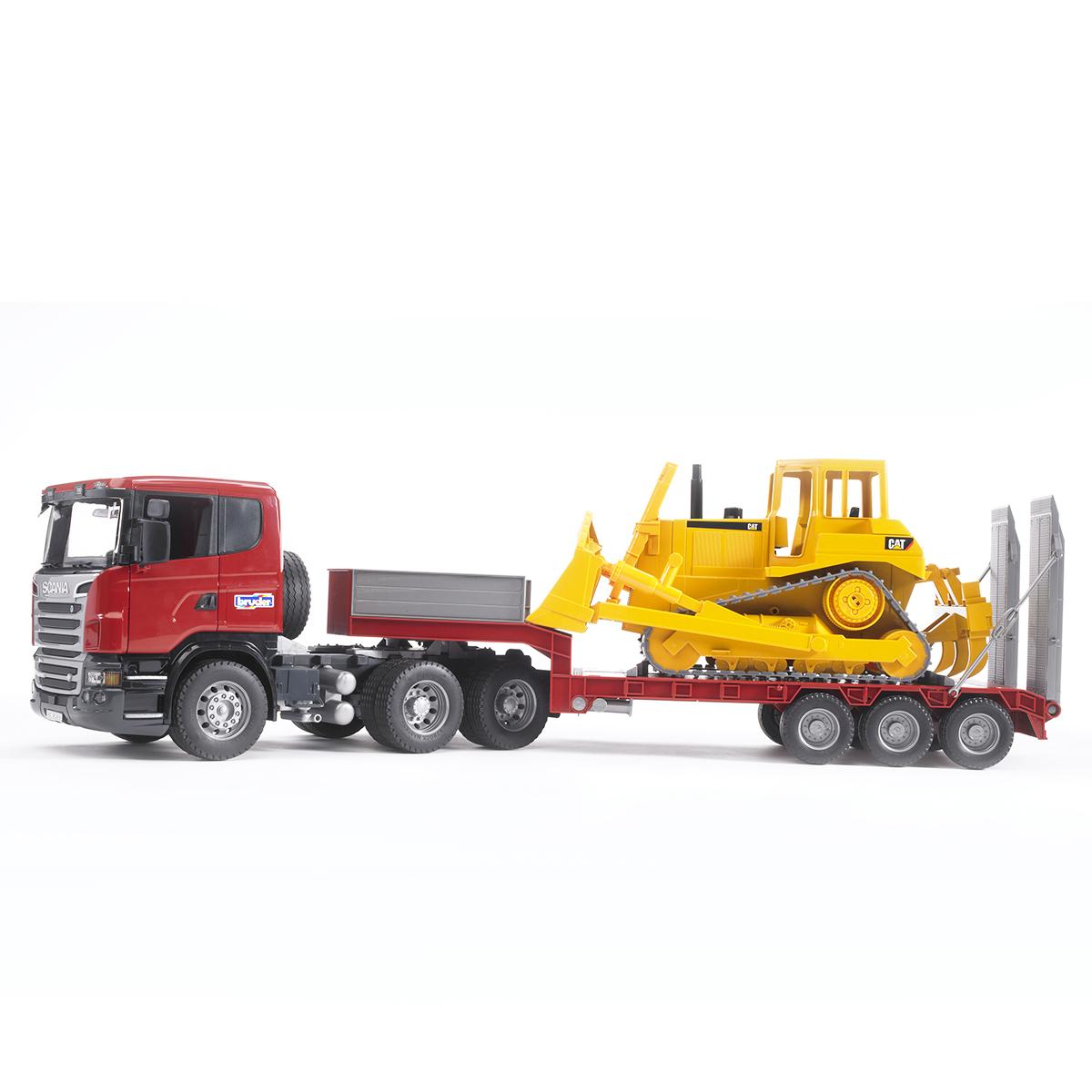 Купить 03-555, Bruder Тягач с прицепом–платформой Scania с гусеничным бульдозером CAT, Мужской (shop: GulliverMarket Gulliver Market)