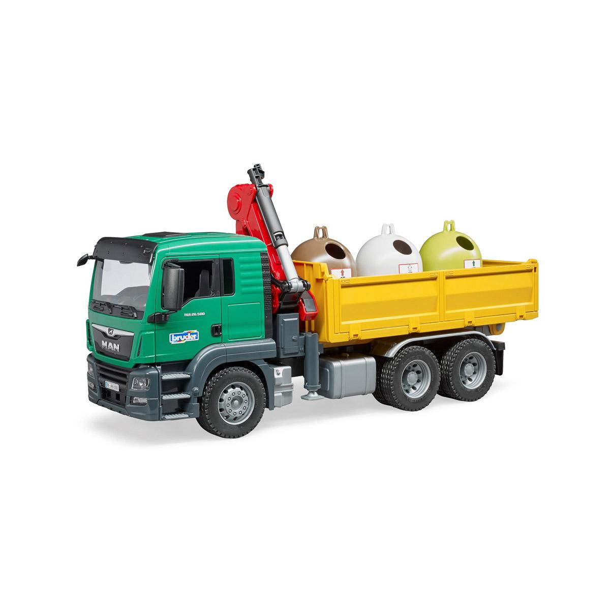 Купить 03-753, Самосвал MAN Bruder c 3 мусорными контейнерами, Мужской (shop: GulliverMarket Gulliver Market)