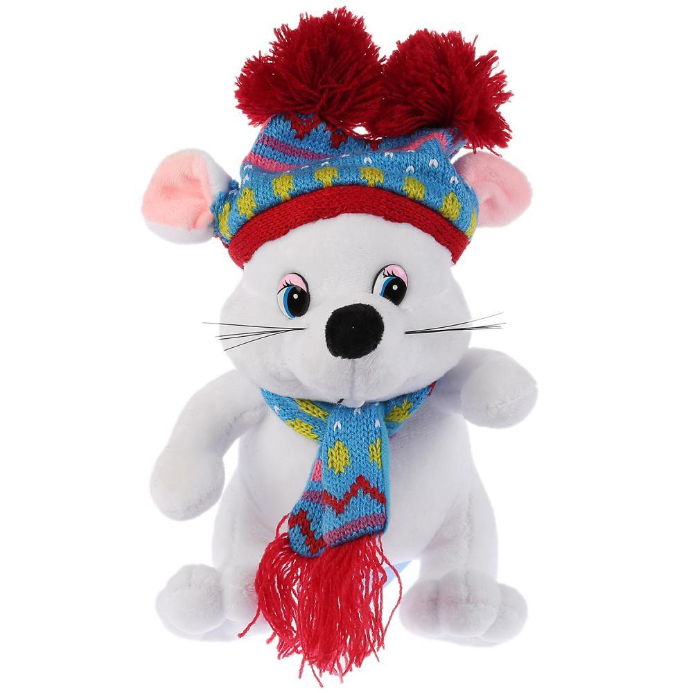 Мульти-пульти Мягкая игрушка белая мышка в шапке