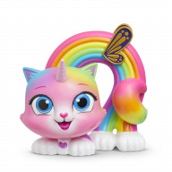 Радужно бабочково единорожная кошка Фигурка с качающейся головой Радуга