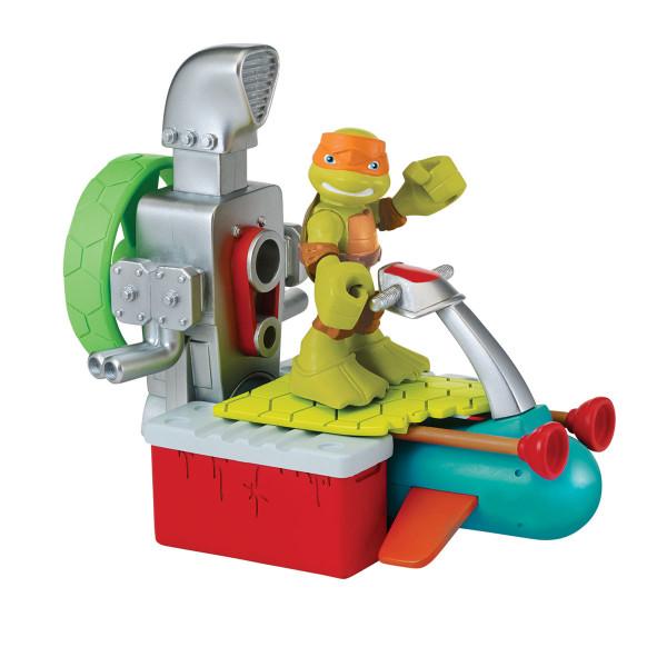 Фигурка Черепашки-ниндзя Майки 6 см с гидроциклом, серия Half Shell Hero