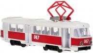 Машина металл Трамвай 18см, инерц. свет+звук, открыв. двери в русс. кор. Технопарк