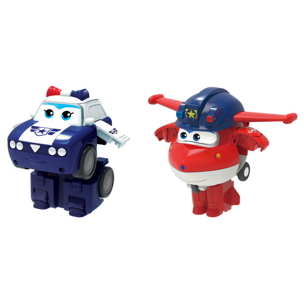 Мини-трансформеры Super Wings 2 в 1 Джетт и Пол (команда Полиции)