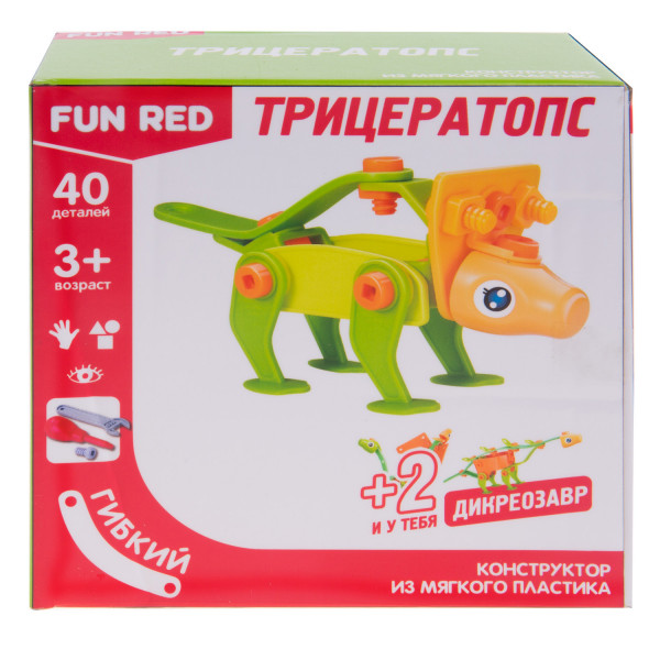 """Конструктор гибкий """"Трицератопс Fun Red"""", 40 деталей"""