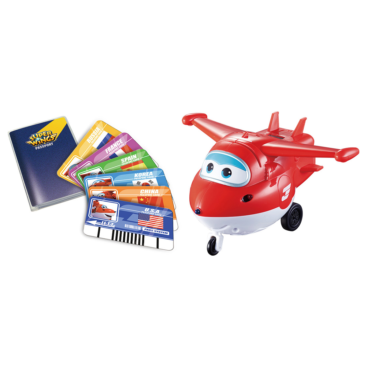 Джетт с пластиковыми карточками разных стран Super Wings, свет, звук